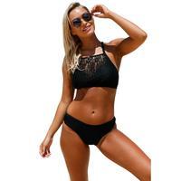 Black Crop Lace Bikini Set Women Summer 2 Piece Swimsuit Sexy Push Up Swimwear Lace Hollow