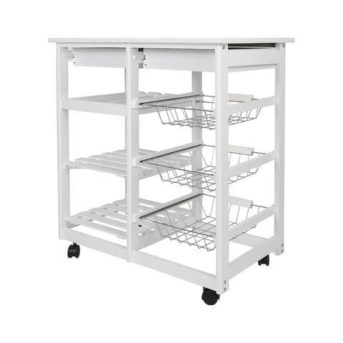 New Kitchen Trolley Cart Dining Shelf Island with Wine Rack Basket Storage Drawers 67*37*75CM HWC Karachi