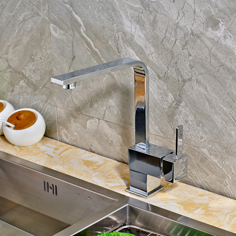 цена на Deck Mounted Kitchen Sink Faucet Single Handle Mixer Tap Swivel Spout Tap Chrome Finished