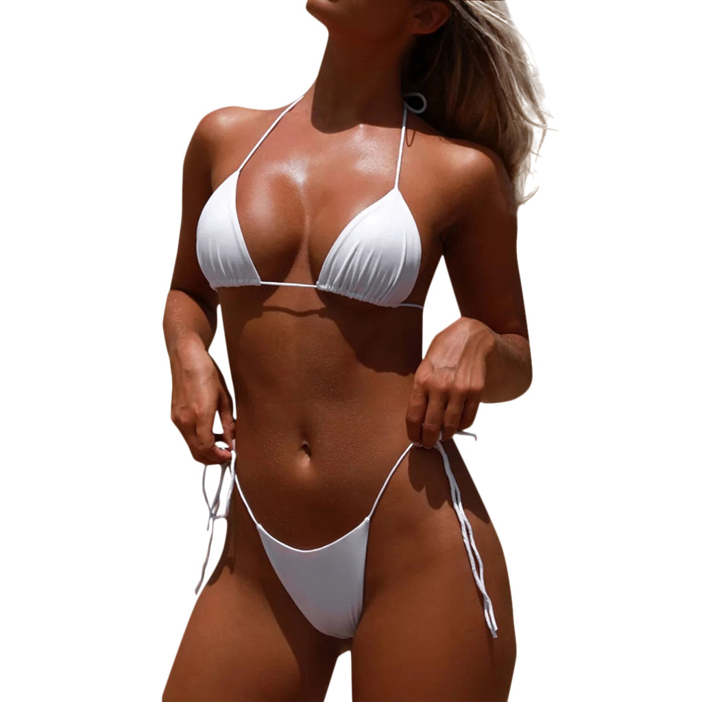 HTB1FhqAacnrK1RjSspkq6yuvXXaJ Women Sexy Bikinis Bandeau Bandage Bikini Set Push-Up Brazilian Swimwear Beachwear Swimsuit 2019 Mujer Solid Maillot De Bain#15