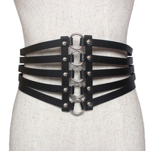 Fashion leather belt woman hollow leather wide elastic metal belts