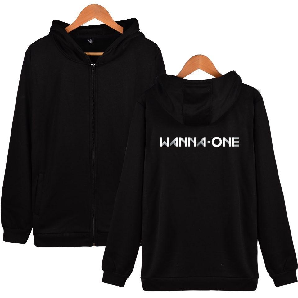 Kpop Korean New Boy Band WANNA ONE Hoodie Zip-Up Fashion Clothing Korean Wanna One Men Women Hooded Sweatshirts With Zipper