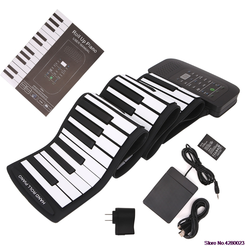 2019 New 88 Keys Keyboard Piano Silicone Roll Up Keyboard Hand-rolling with Sustain Pedal