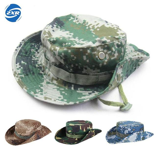 Outdoor Boonie Hat Wide Brim Side Snap Chin Cord Fishing Hunting Hiking  Camouflage Safari Summer Jungle Hats For Men   Women c831ea969677