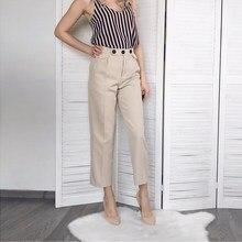 c9a96db9e1 De cintura alta elegante pantalones de harén de las mujeres de la primavera  de 2019 de moda de color caqui bolsillos de botón Of..
