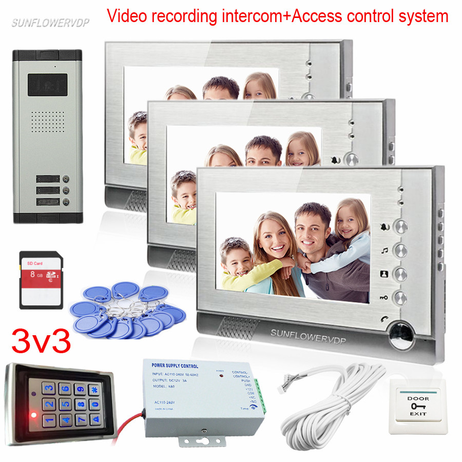3 Apartments Video Intercom Monitor Support Take Photos/Video Recording Video Call For Door Access Keyboard Rfid Code Function