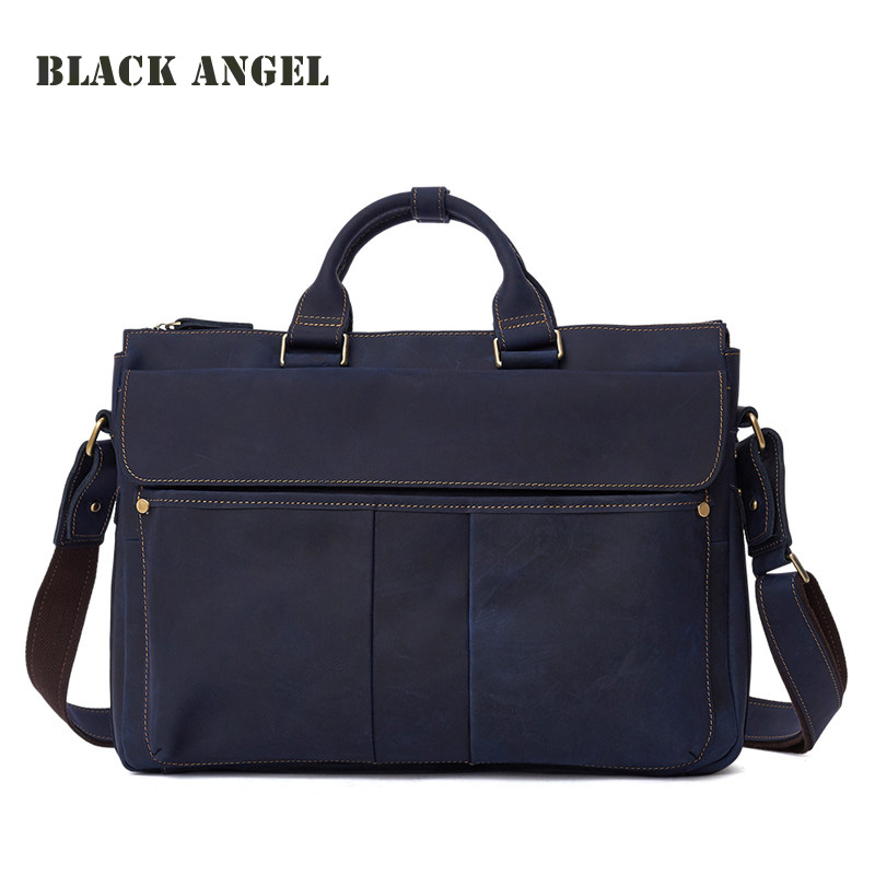 Guaranteed Genuine leather bag Men Briefcase shoulder handbag laptop bag Crazy Horse Leather man messenger bag vintage genuine leather men briefcase bag business men s laptop notebook high quality crazy horse leather handbag shoulder bags