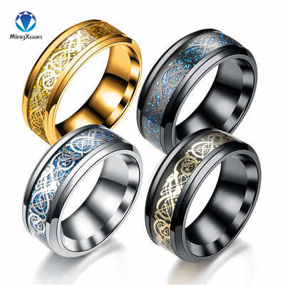 MINGXUAN Drop Ship 2018 New Vintage Dragon 316L stainless steel Ring Mens Jewelry for Men lord Wedding Band male ring for lovers