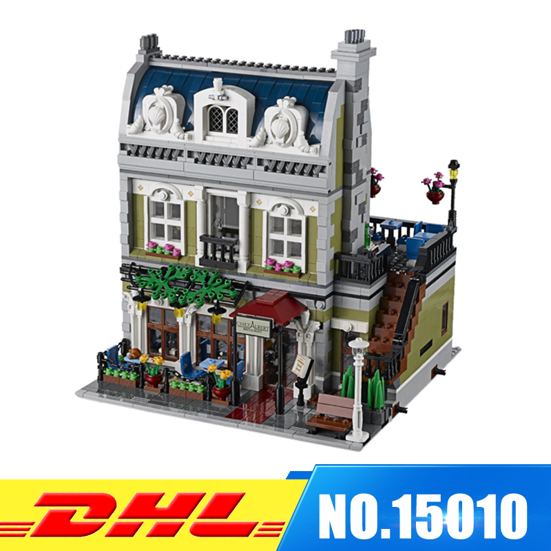 DHL NEW 2418Pcs LEPIN 15010 City Street Parisian Restaurant Model Building Blocks Bricks intelligence Toys Compatible With 10243 dhl new lepin 06039 1351pcs ninja samurai x desert cave chaos nya lloyd pythor building bricks blocks toys compatible 70596