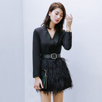 2017 New Women Mercerized Black Blazer Dresses Fashion V Neck Slim Long Sleeve Dress Ostrich Real Fur Luxury Elegant Dress AD037
