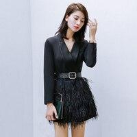 2018 New Women Mercerized Black Blazer Dresses Fashion V Neck Slim Long Sleeve Dress Ostrich Real Fur Luxury Elegant Dress AD037