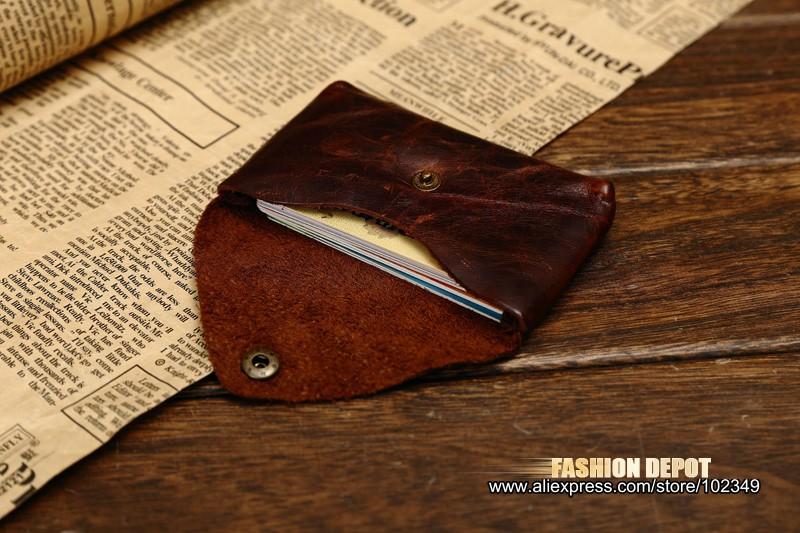 Oil Waxed Dark Brown Credit Card Wallet Card Bag Coin Wallet man and women (9)