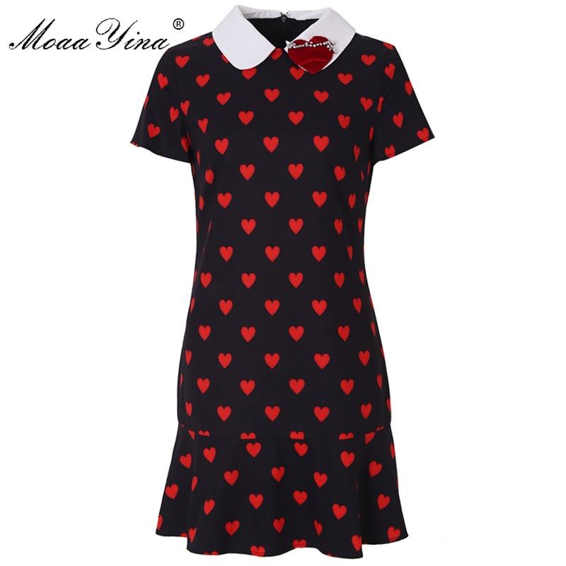 Moaa Yina Fashion Designer Runway dress Spring Summer Women Dress Short sleeve Red Heart shaped Print
