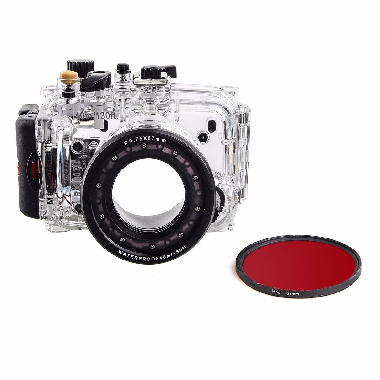 40m 130ft Waterproof Underwater Housing Diving Case For Sony DSC RX100 III RX100 M3 + 67mm Red Filter