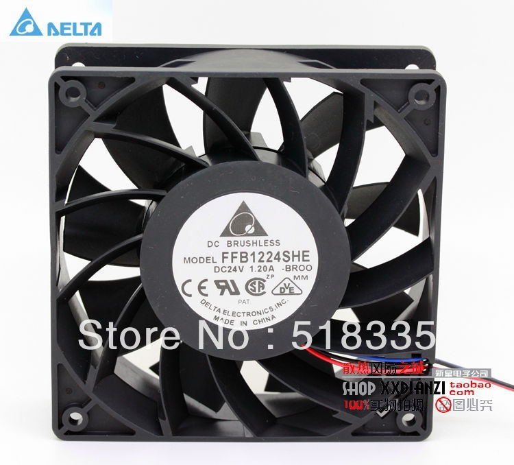 Original Delta FFB1224SHE 12CM 120MM 12038 120*120*38MM 24V 1.20A cooling fan new afb1212she 12038 12cm 1 6a 12v 4wire pwm 40cm long line of fan for delta 120 120 38mm
