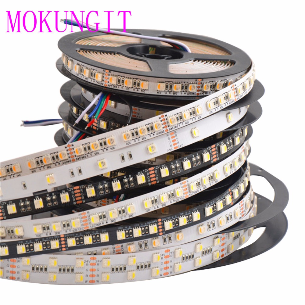 High quality 5M 5050 RGBW 4 in 1 RGBW Flexible LED Strip RGB+Cool/Warm White,4 color in 1 Chip, 30/60/72/84/96/120LED/m 12V 24V