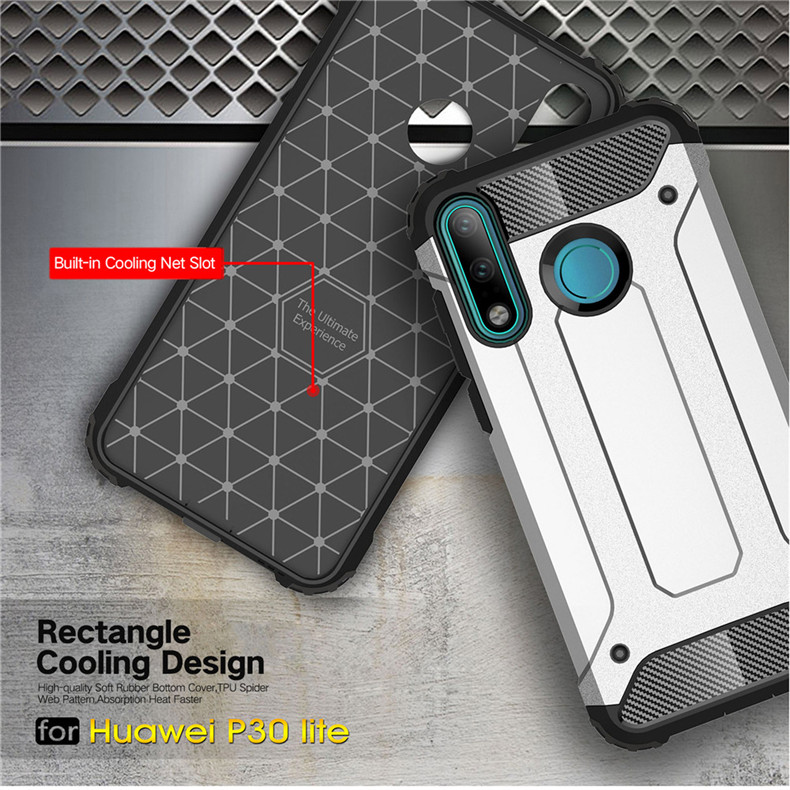 PC TPU Silicone Hybrid Armor Phone Case For Huawei P30 Pro P 30 Lite Nova 4E Soft Silicon Hard Plastic Anti Knock Back Cover in Fitted Cases from Cellphones Telecommunications
