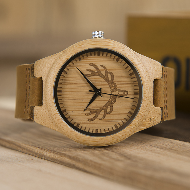 BOBO BIRD L-k04 Elk and Wolf Dial Face with Soft Leather Women Wooden Watches Fashion Casual Band Mujer Clock in Gift Box bobo bird e03 men led watches hexagonal digital clock mujer with 100