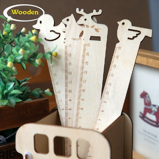 2pcs/lot  NEW Cute Animal Design Log Wooden Ruler  Bookmark