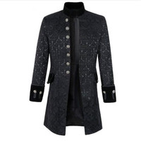 Mens Gothic Brocade Jacket Frock Coat Steampunk Victorian Morning Coat Smart Jacket Black White Mens Wind Breaker 2019