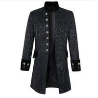Mens Gothic Brocade Jacket Frock Coat Steampunk Victorian Morning Coat Smart Jacket Black White Mens Wind Breaker 2019