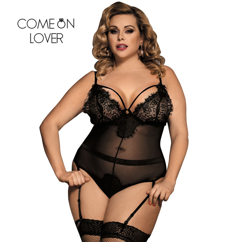 Comeonlover Eyelash Lace Sexy Transparent Bodysuit See Through Club Wear Plus Size Black With Garter Backless Bodysuit RI80266