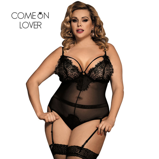 7da8bd5f61 Comeonlover Eyelash Lace Sexy Transparent Bodysuit See Through Club Wear Plus  Size Black With Garter Backless Bodysuit RI80266