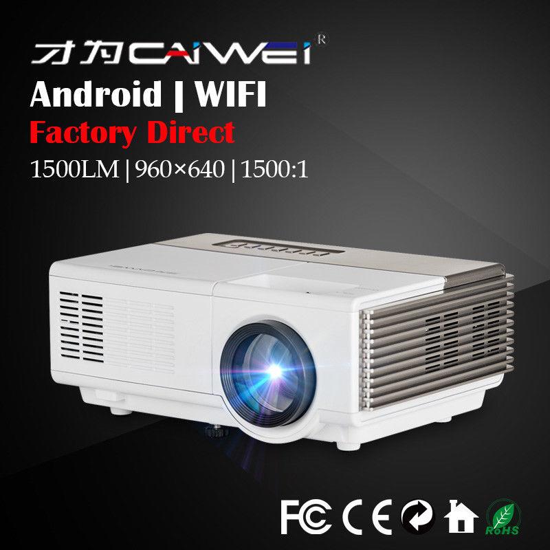 Bulit-en Android Mini proyector LED para cine en casa 1080 p HD inalámbrico WiFi videojuegos en línea HDMI VGA