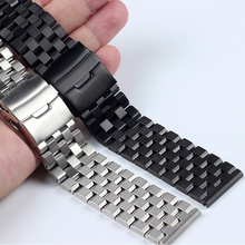 Высокое качество нержавеющая сталь ремешки для мм наручных часов 18 мм 20 мм 22 мм 24 мм 26 мм серебристо-черные мужские наручные часы полосы металлические часы браслеты