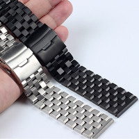 High Quality Stainless Steel Watchbands 18MM 20MM 22MM 24MM 26MM Silvery Black men's wrist watch bands metal watch bracelets