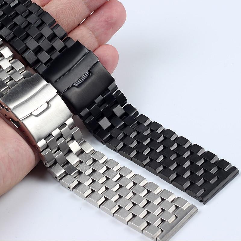 Pulseiras de Relógio de Pulso Pulseiras de Relógio de Metal Alta Qualidade Inoxidável 20mm 22mm 24mm 26mm Prateado Preto Masculino Aço 18mm
