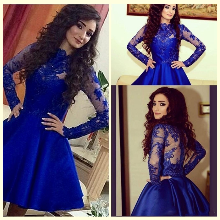 2017 Cheap   Cocktail     Dresses   Illusion Neck Long Sleeves Lace Royal Blue Appliqued Party   Dress   Short Party Vestidos De Fiesta