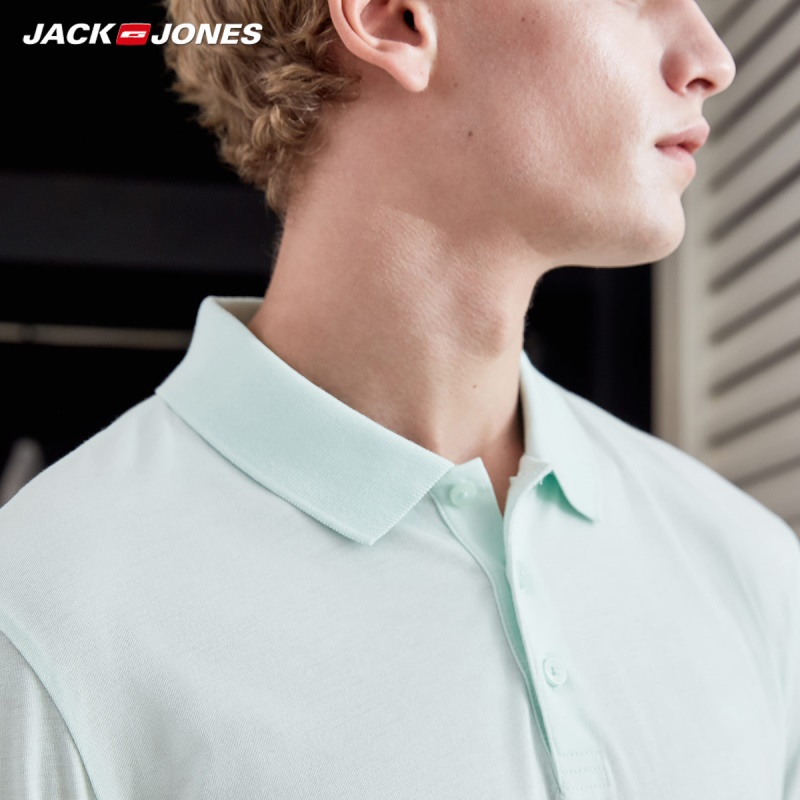Image 5 - JackJones Men's Cotton&Silk Fabric Pure Color Short sleeved Polo shirt Menswear C219106520-in Polo from Men's Clothing