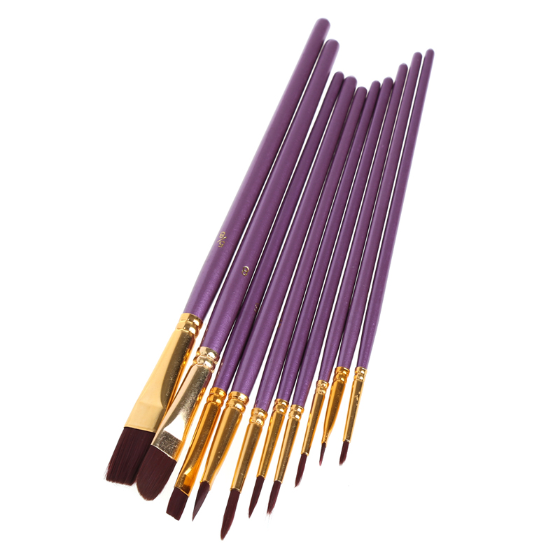10Pcs Artist Paint Brush Set Nylon Hair Watercolor Acrylic Oil Painting Drawing