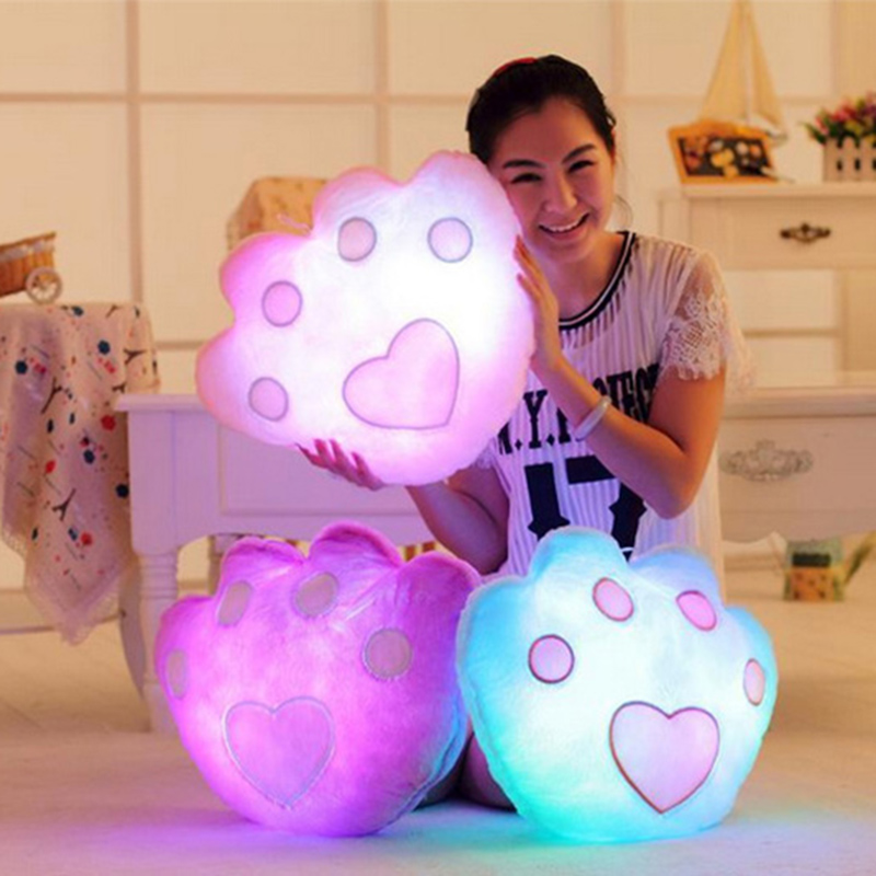 Bear Paw Colorful LED Luminous Pillow 35cm Cute Glow Soft Plush stuffed Plush Cushion Kids Toys Birthday Gift for Children 1pc 65cm cartion cute u shape pillow kawaii cat panda soft cushion home decoration kids birthday christmas gift