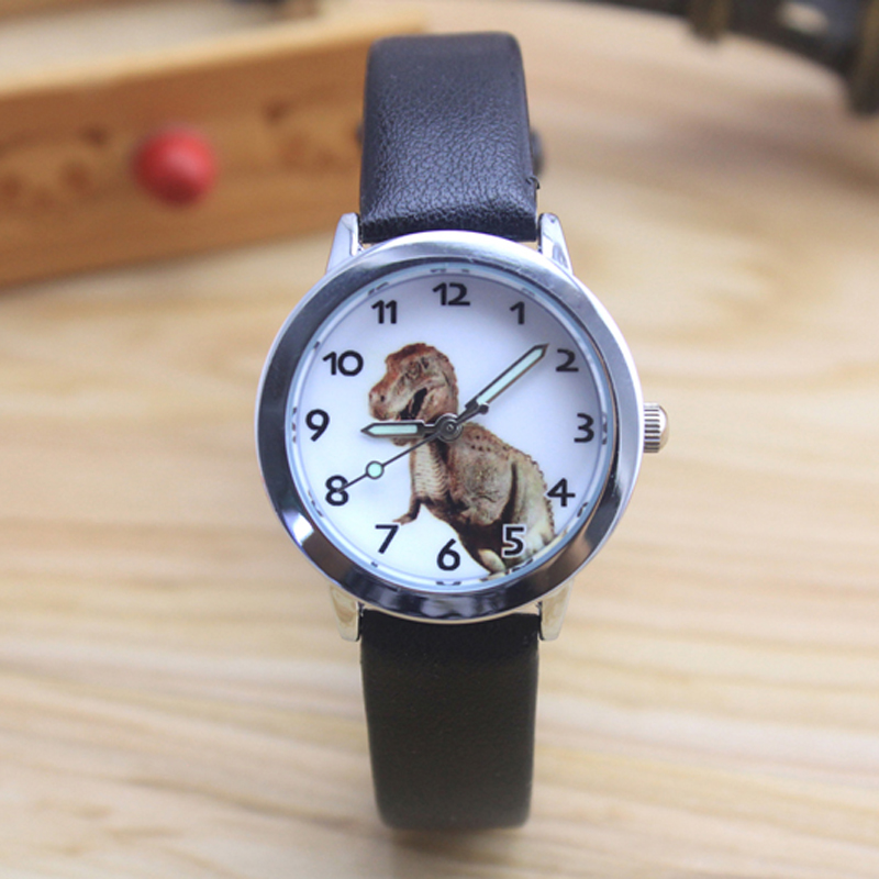 2018 Famous Children Boys Cute Cool Cartoon Dinosaur Quartz Gift Watches Kids Sports Luminous Hands Leather Clock Montre Enfant Watches