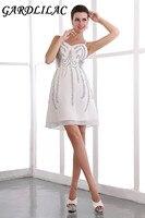 Spaghetti Strap Beading Knee-Length white cocltail dress  Cocktail Party vestido de festa curto de luxo Real Photo