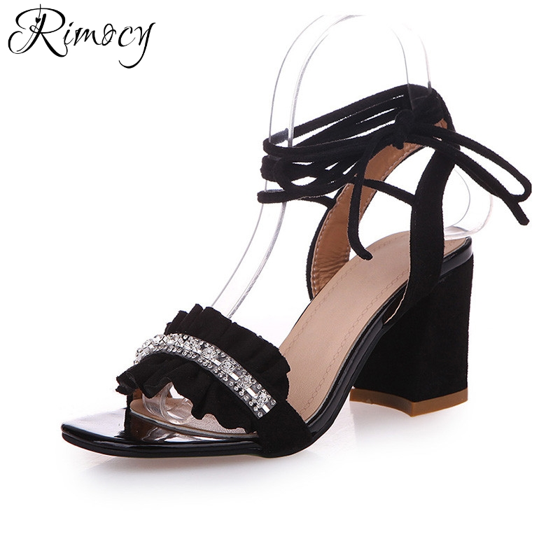 Rimocy pink flock women ankle wrap sandals fashion 2017 thick high heels lace up rhinestone pumps fashion summer shoes woman new fashion women casual shoes women sandals 2016 thick high square heels sandals black flock pumps