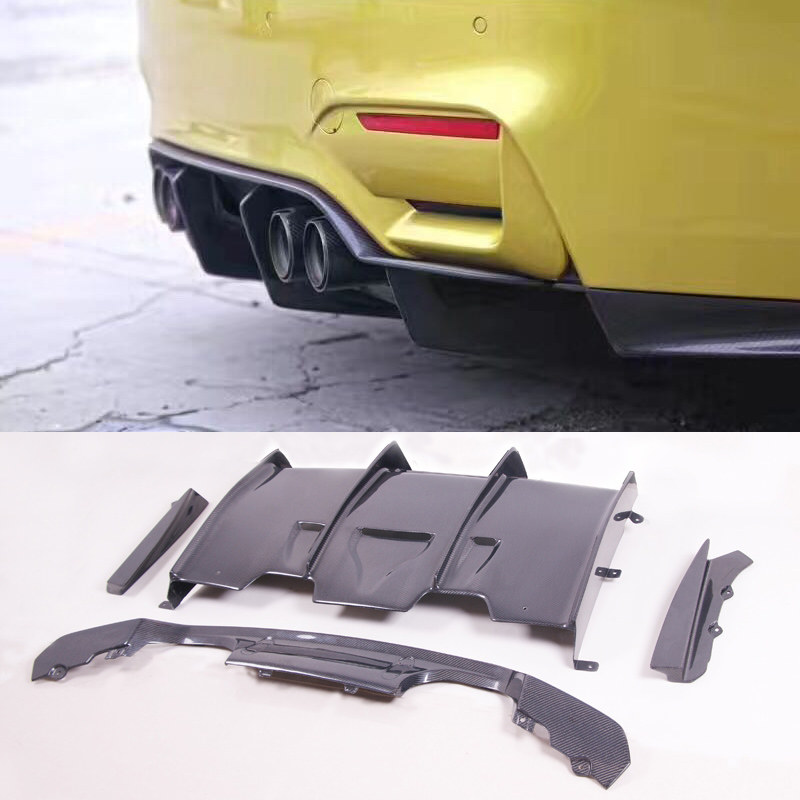 P-M Style Carbon fiber Bumper Rear Diffuser Fit For BMW F80 M3 F82 M4
