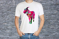 Tailored Shirts O Neck Comfort Soft Short Sleeve Mens Colorful Goat Shirt