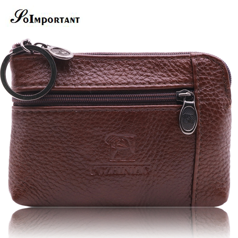 Vintage Genuine Leather Mini Men Wallets Male Coin Purse Zipper Small Magic Walet Portomonee Credit Card Holder With Key Ring