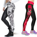 2016 New Women Unique Fashion Digital Printing owl/Wall graffiti Stretch Leggings Splicing Nine Pants Slim Skinny Trouse