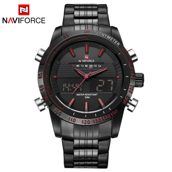 NAVIFORCE 2017 New Luxury Brand Dual Time Clock Fashion Full Stainless Steel Men\'s Watch Army Male Sport Wristwatch Waterproof 1