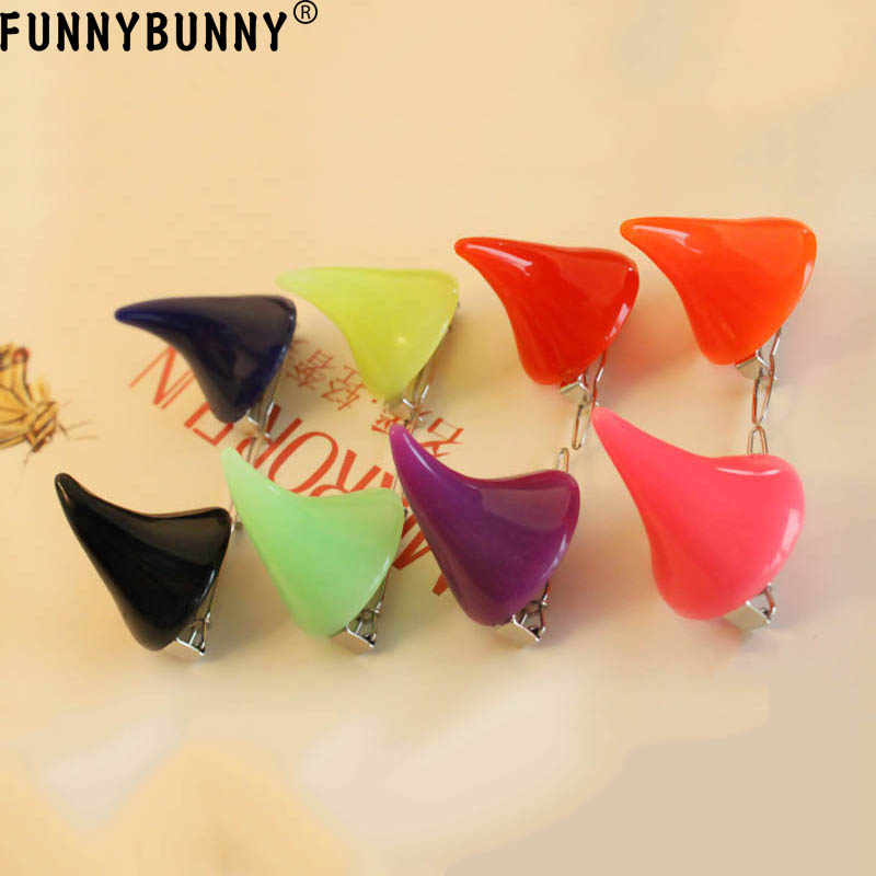 FUNNYBUNNY Cute Girls Horns Clip Gothic Little Devil Candy Colored Hair Clip Halloween Cosplay Costume Head Accessory
