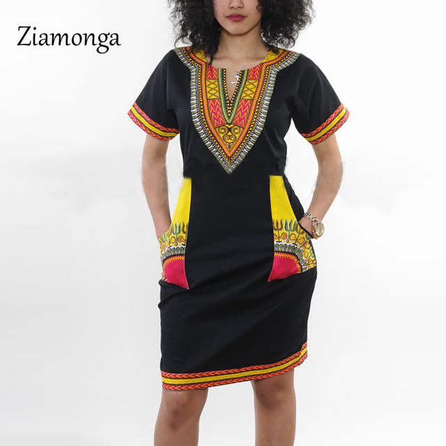 a0aa2c72bef Online Shop Ziamonga Dashiki Dress 2017 Summer Sexy African Print Shirt  Dresses Female Vintage Mini Hippie Plus Size Boho Women Casual Dress