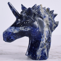 5 Inch Handcrafted Unicorn Skull Figurine Natural Sodalite Stone Healing Energy Carved Crystal Statue Gemstone Home Decoration