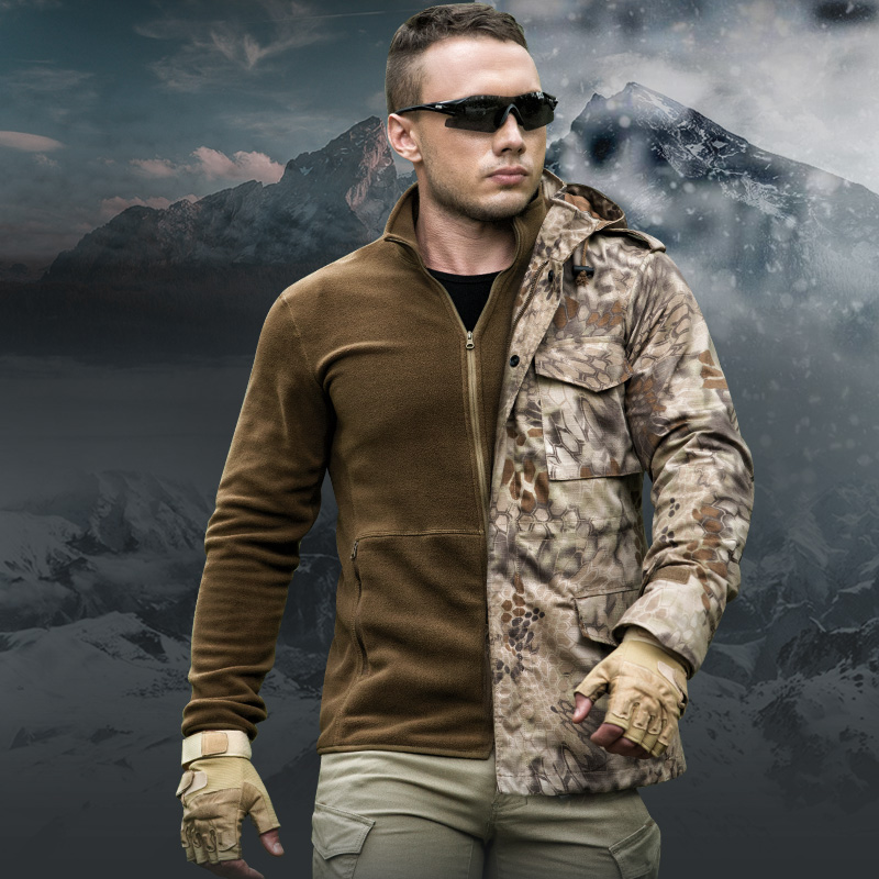 Mens 3-in-1 Faux Fleece Lining Winter Waterproof Military Camouflage Tactical Jacket Hiking Hunting Camo M65 Windbreaker Jackets mens camo field jacket