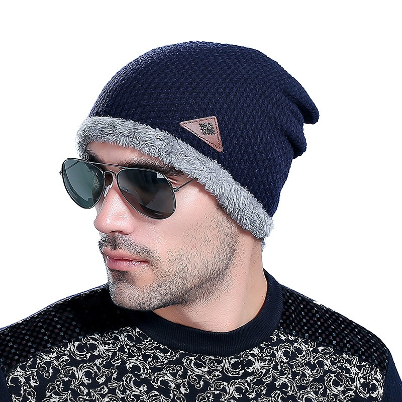Men's Skullies Hat Bonnet Winter Beanie Knitted Wool Hat Plus Velvet Cap Thicker Mask Beanies Hats for men wool skullies cap hat 10pcs lot 2289