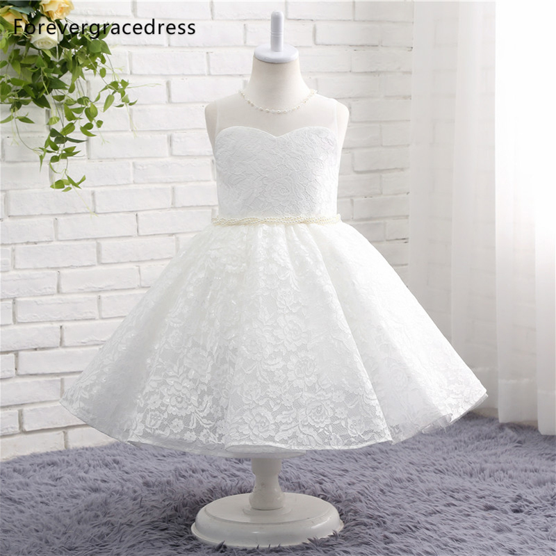 Forevergracedress Real Photos Lovely White   Flower     Girl     Dress   High Quality Cute A Line Lace Boho Children Gown