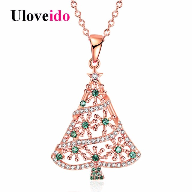 Uloveido rose gold color christmas tree necklaces pendants fashion uloveido rose gold color christmas tree necklaces pendants fashion necklace women gifts for the new aloadofball Image collections